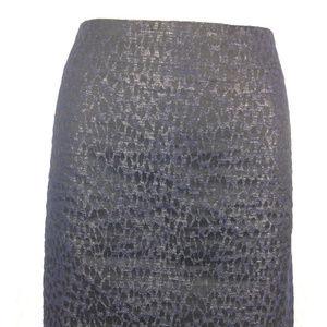 ABS Platinum Black Blue Pencil Skirt SZ 6 Textured
